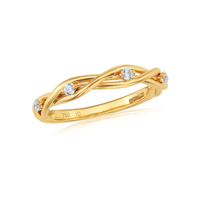 18ct Yellow Gold Diamond Twist Ring