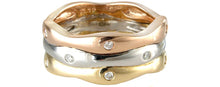 Load image into Gallery viewer, 9ct Yellow, White & Rose Gold Wave Ring