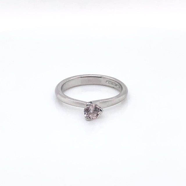 Platinum Round Brilliant Morganite Solitaire