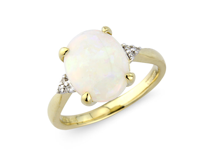9ct Yellow Gold Opal & Diamond Ring