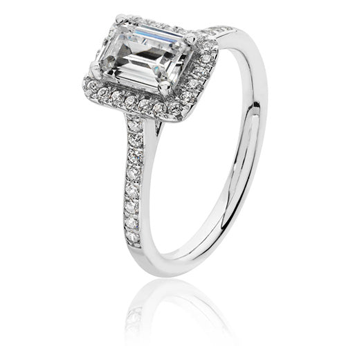 Sterling silver Claw Set Emerald Cut Halo CZ Ring