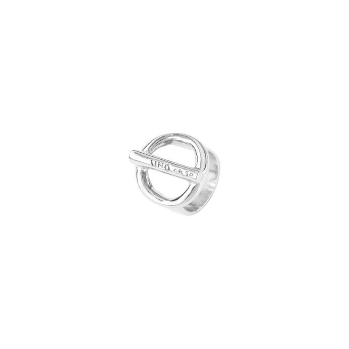 Uno De 50 Silver Tone On/Off Circle Bar Ring