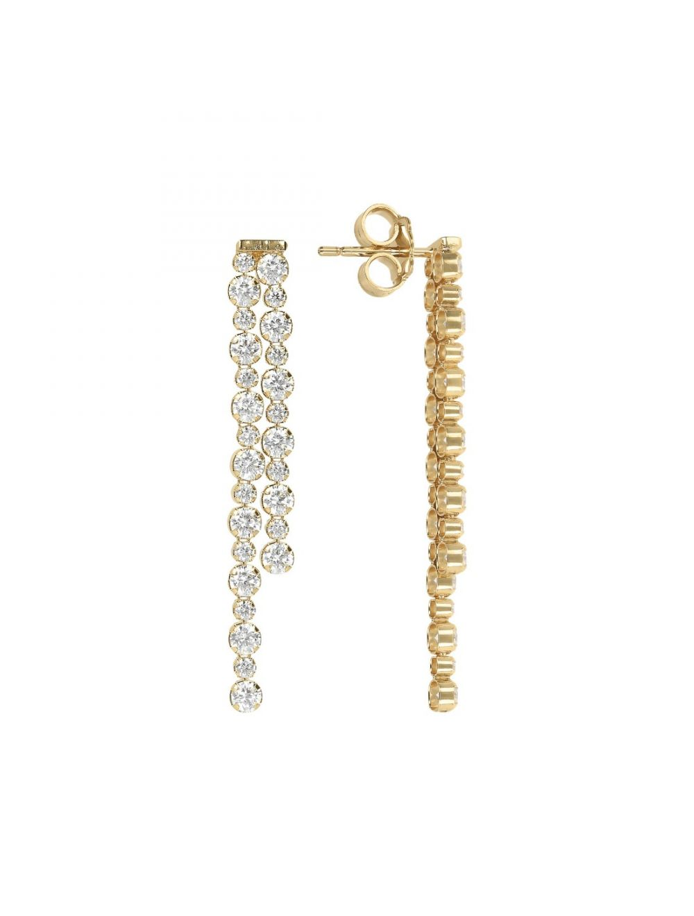 Bronzallure 18ct Yellow Gold Plated Two Strand CZ Drop Earrings