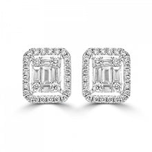 Load image into Gallery viewer, 18ct White Gold Brilliant and Baguette Diamond Earrings