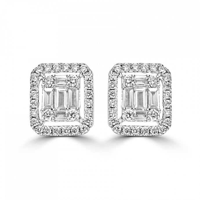 18ct White Gold Brilliant and Baguette Diamond Earrings
