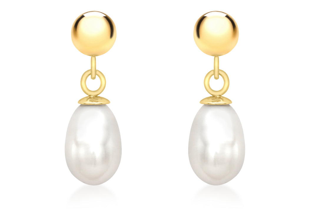 9ct Yellow Gold Ball Top With Pearl Drop Earrings