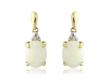Load image into Gallery viewer, 9ct Yellow Gold Diamond & Opal Oval Drop Earrings