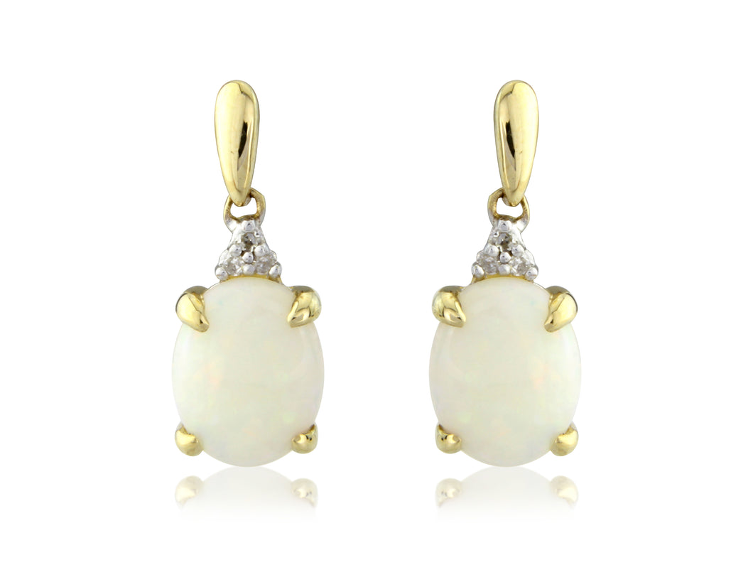 9ct Yellow Gold Diamond & Opal Oval Drop Earrings