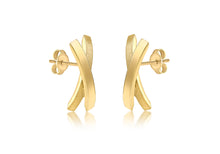 Load image into Gallery viewer, 9ct Yellow Gold Satin and polished crossover earrings