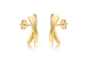 9ct Yellow Gold Satin and polished crossover earrings