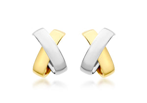 9ct Yellow and White gold two tone Kiss Huggie Earrings
