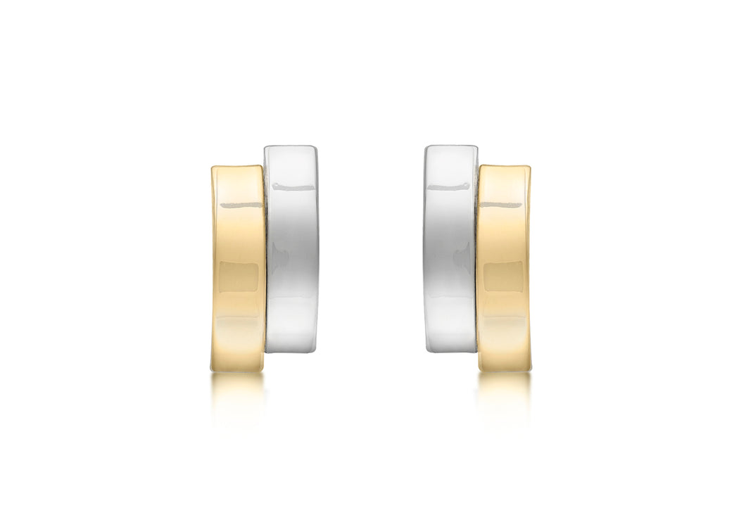 9ct two tone gold asymmetric double curved bar stud earrings