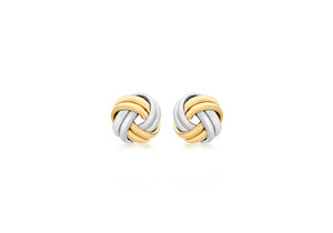 18ct Two Tone Yellow and White Gold Double Knot Stud Earrings