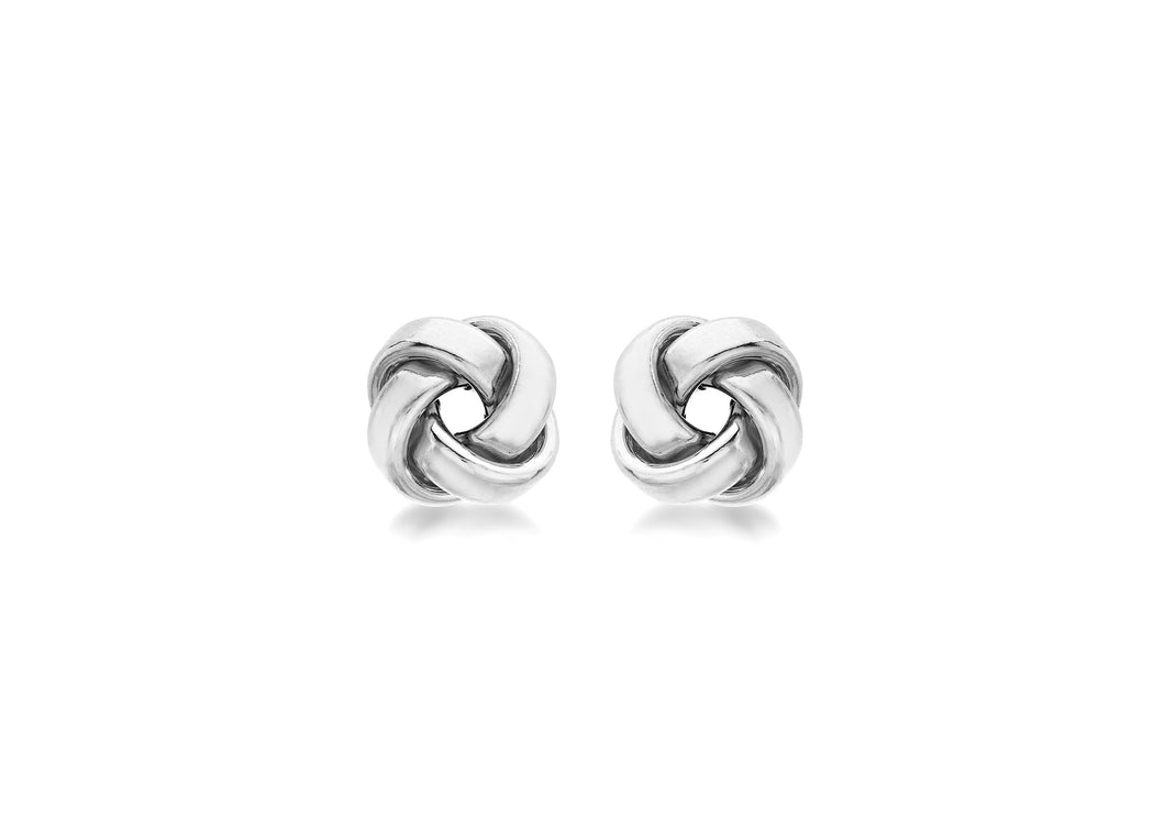 9ct White Gold 10mm Knot Stud Earrings