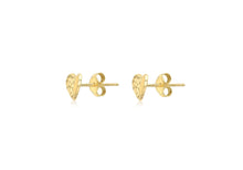 Load image into Gallery viewer, 9ct Yellow Gold Heart Stud Diamond Cut Earrings