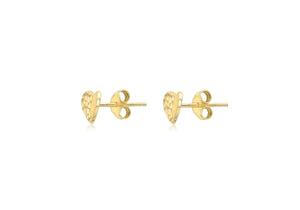 9ct Yellow Gold Heart Stud Diamond Cut Earrings