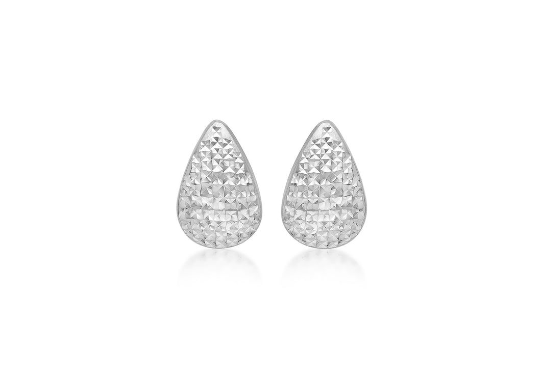 9ct White Gold Diamond Cut Pear Shape Stud Earrings