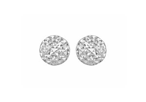 9ct White Gold Round Stud Diamond Cut Earrings