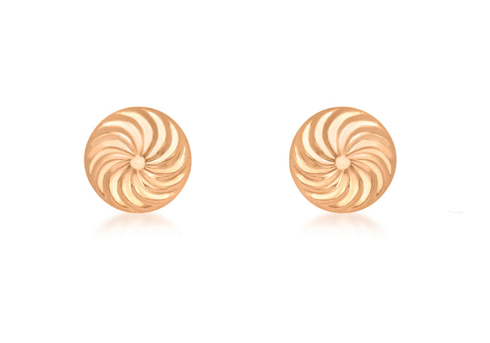9ct Rose Gold Swirl Detail Dome Stud Earring