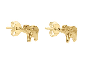 9ct Yellow Gold Elephant Stud Earrings