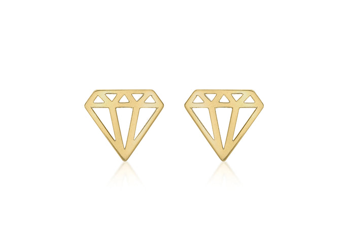 9ct Yellow Gold Diamond Shape stud earrings