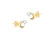 Load image into Gallery viewer, 9ct Gold Moon and Star Stud Earrings