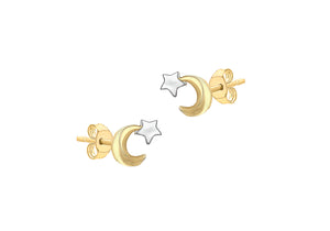 9ct Gold Moon and Star Stud Earrings