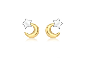 Gold 9ct 2 Colour Gold Moon and Star Stud Earrings