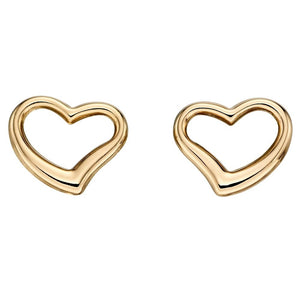 9ct Yellow Gold12 X 12mm Open Heart Stud earrings