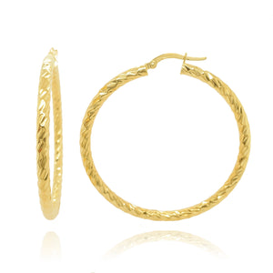 9ct Yellow gold Diamond Cut Large hoop earrings.