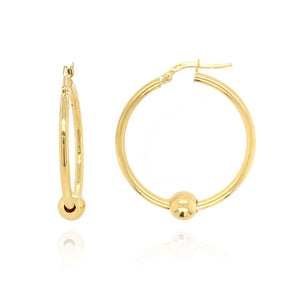 9ct Gold Hoop Earrings with Bead Detail