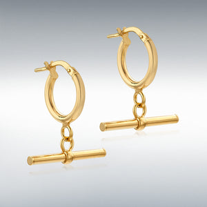 9ct Yellow Gold 20 X 28.5mm round T-Bar Creole Hoop earrings