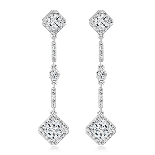 Sterling Silver Drop CZ Earrings