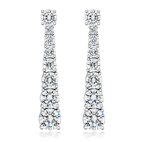 Graduated Drop CZ Silver Earrings