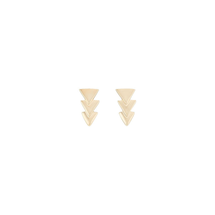 Uno De 50 Yellow Gold Tone Triple Triangle Stud Earrings