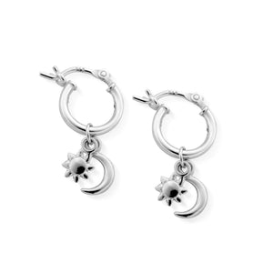 Chlobo Silver dainty moon and star hoop earring
