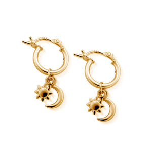 Dainty Moon & Sun Hoops yellow gold plate