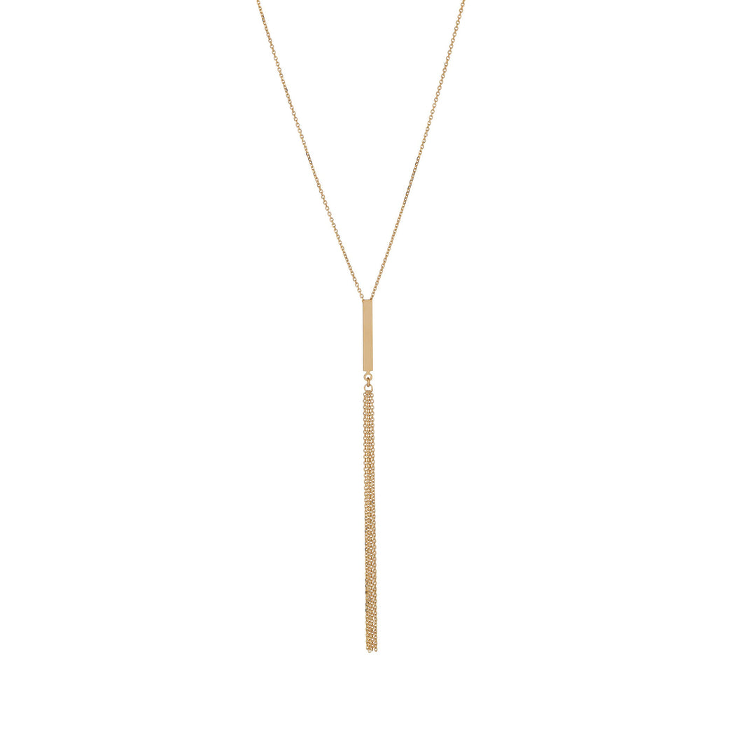 9ct gold vertical bar pendant with drop chain necklace