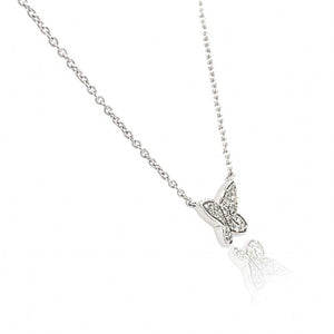 9ct White Gold Diamonf Butterfly Necklace