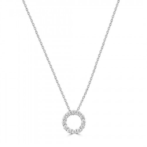 18ct White Gold Circle of Life Diamond Pendent 0.26ct