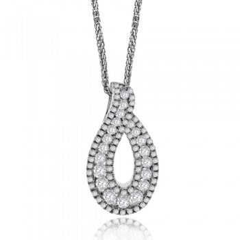 18ct White Gold Diamond Open Teardrop Necklace