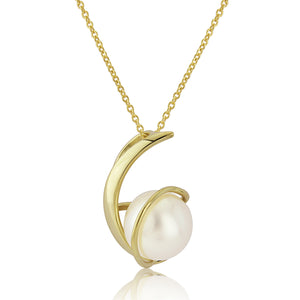 9CT Yellow Gold Cultured Pearl Pendent