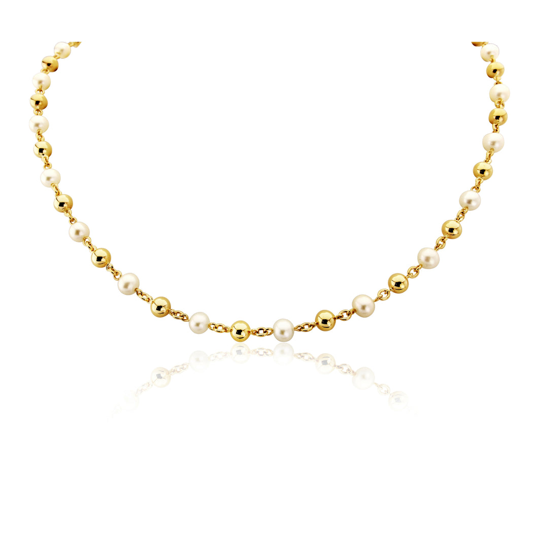 9ct Yellow Gold Pearl and Gold Bead Necklace