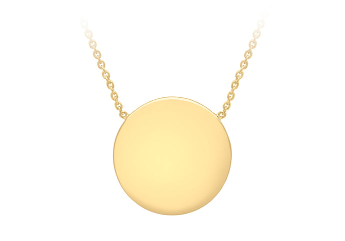 9ct Yellow Gold 15mm Disc Pendant Adjustable Necklace