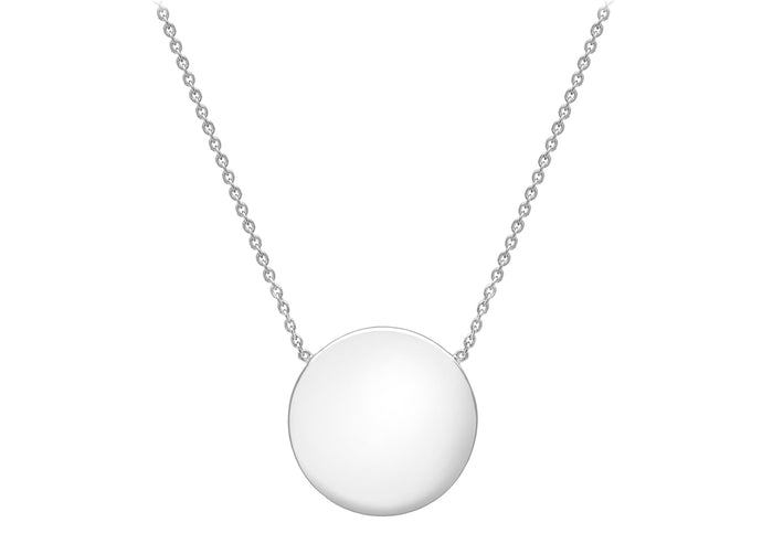 9ct White Gold 15mm Disc with Chain