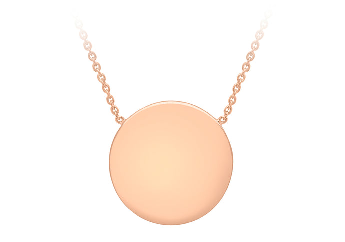9ct Rose Gold 15mm Disc pendent with chain