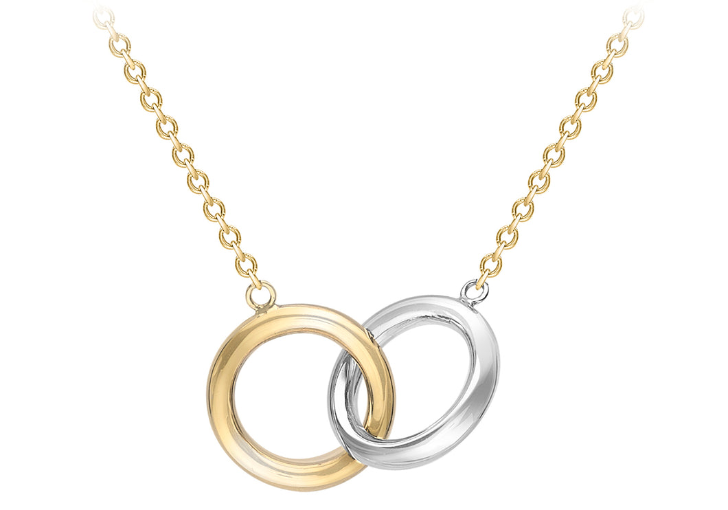 9ct Gold Two Colour Linked Rings Necklace