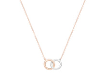 Load image into Gallery viewer, 9ct Two tone Rose and White gold interlocking circle necklace
