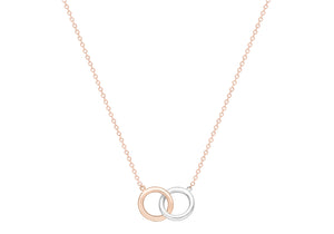 9ct Two tone Rose and White gold interlocking circle necklace