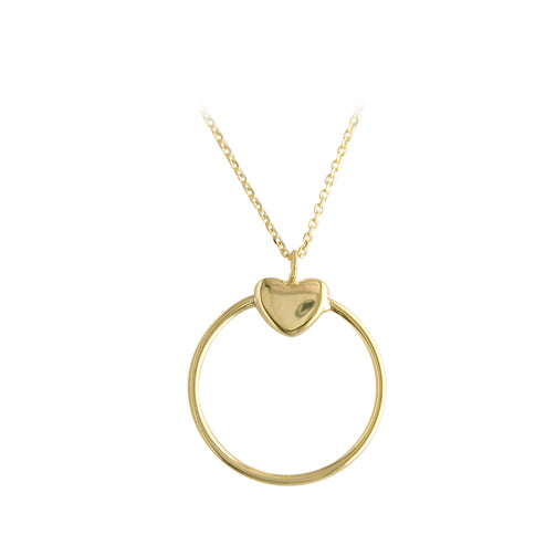 9ct gold open circle and heart necklace